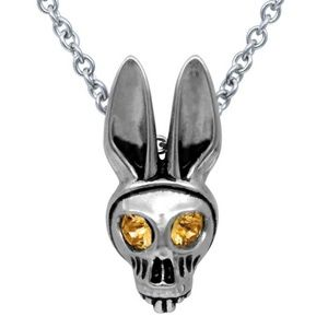 Jewelry - Bunny Skull BIRTHSTONE Choose Color/Month Necklace